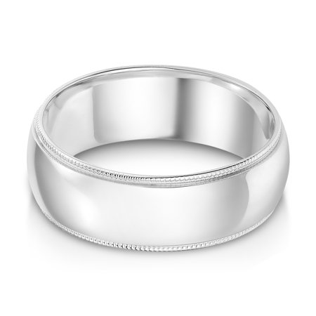 Ioka - 14k Solid White Gold 7mm Comfort Fit Milgrain Traditional Wedding Band Ring - size 10