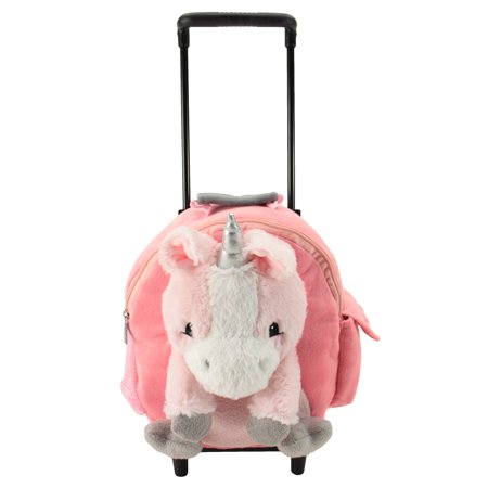 Animal Adventure Jolly Trolley Kids Luggage Unicorn Plush Interactive Toys, Pink, 5
