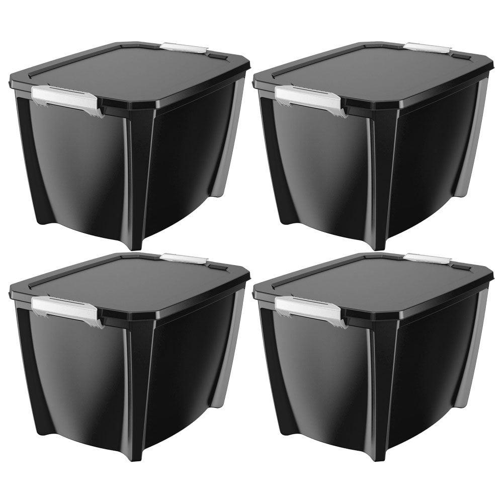 Life Story Black Locking Organization Storage Box Container, 32 Gal (4 Pack)