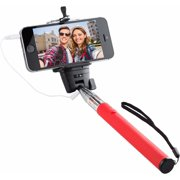 Knox Monopod Selfie with Cable and Single Button Shutter - Red