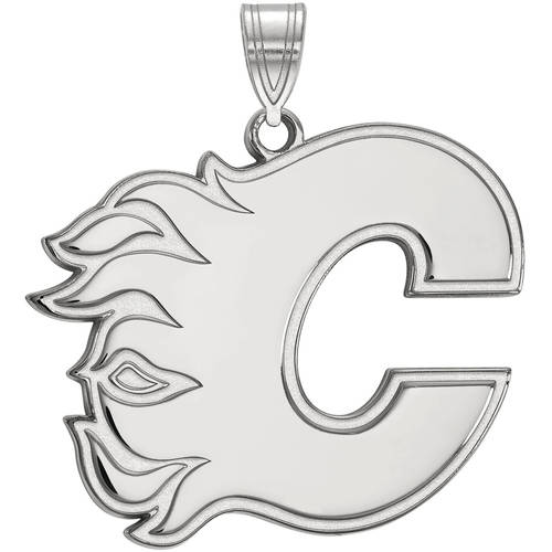 LogoArt NHL Calgary Flames Sterling Silver Extra Large Pendant