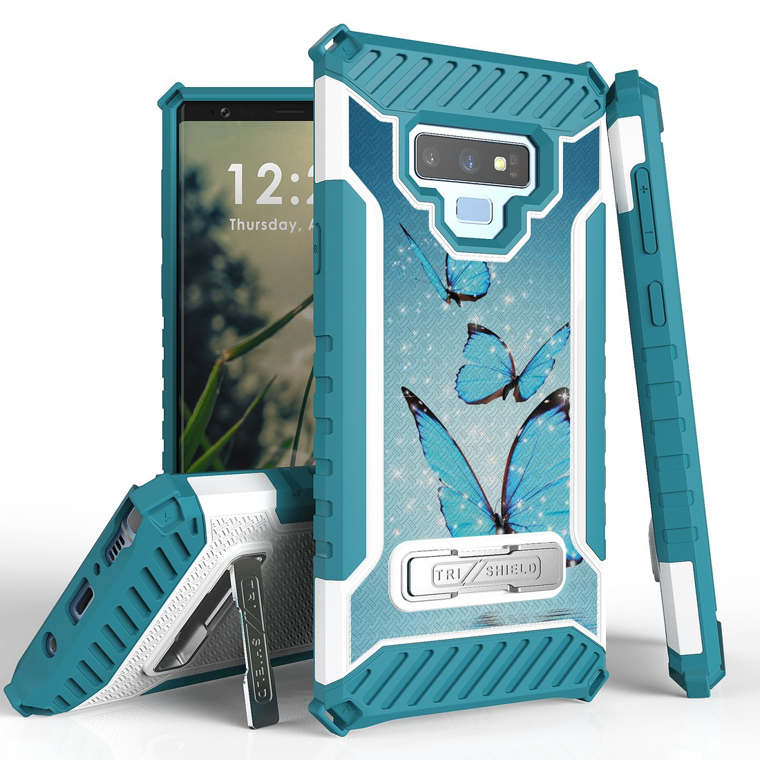 Beyond Cell Military Grade Drop Tested [MIL-STD 810G-516.6] Kickstand Rugged Cover Armor Case and Atom Cloth Samsung Galaxy Note 9 - Blue Butterfly
