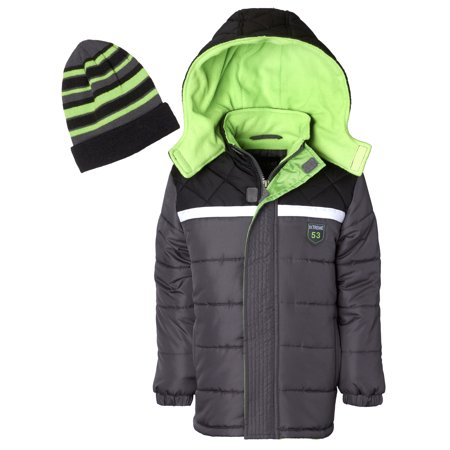 Diamond Quilted Puffer Jacket With Free Gift Accessory (Little Boys & Big Boys)