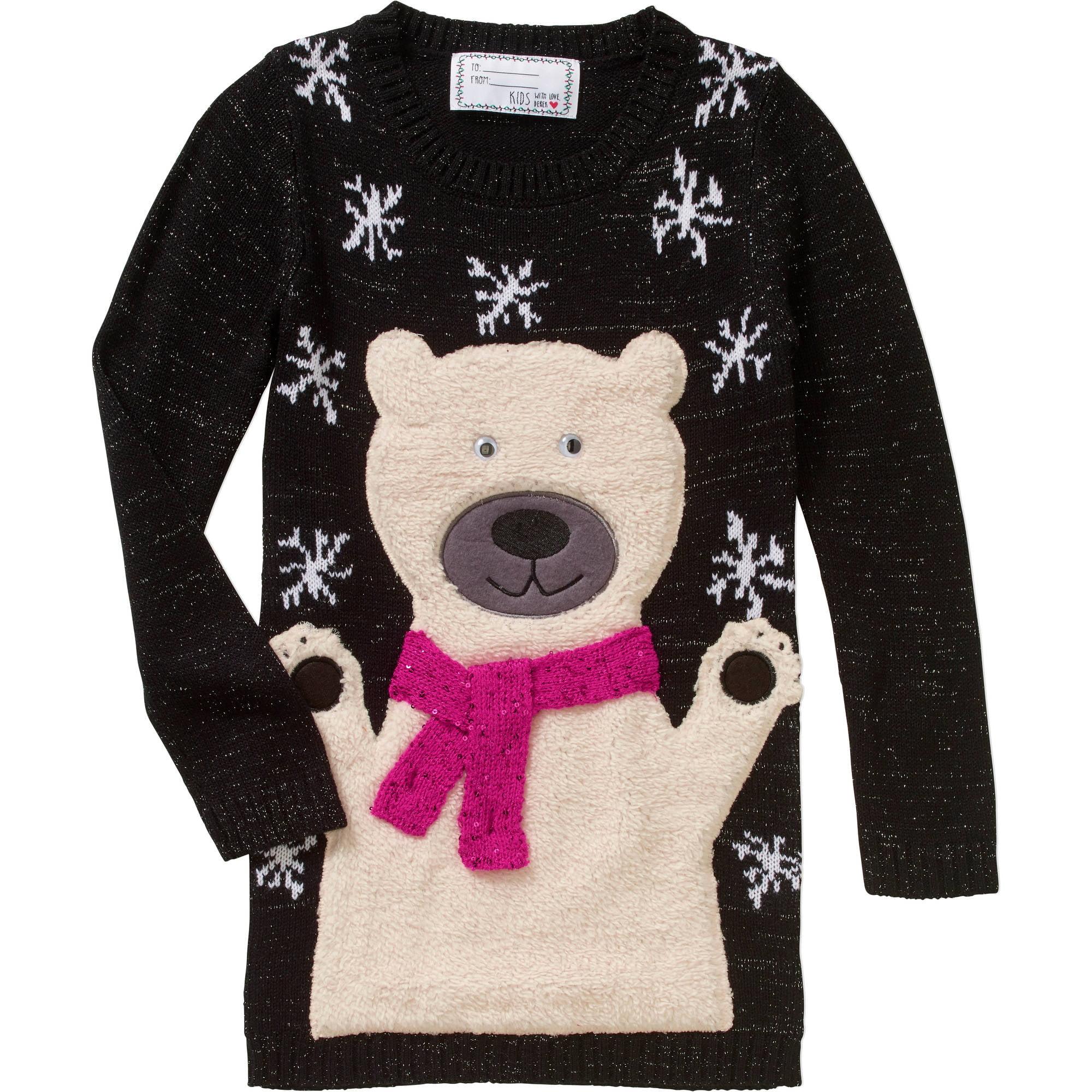 Derek Heart Girls Fuzzy Polar Bear Tunic with Sequins