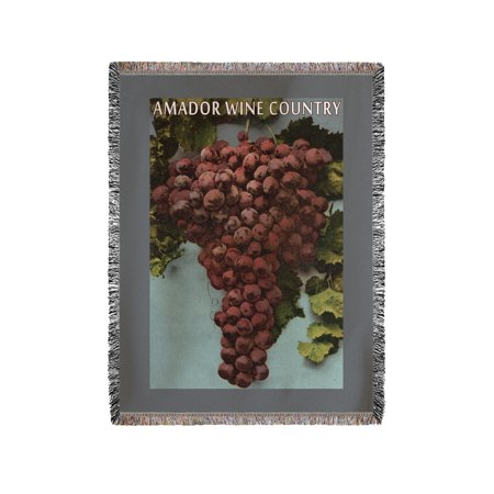 Amador Wine Country  California   Grapes   Lantern Press Artwork  60X80 Woven Chenille Yarn Blanket