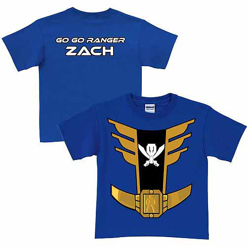 Personalized Power Rangers Blue Ranger Boy's Royal Blue T-Shirt