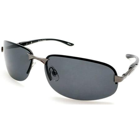 Unisex Polarized Semi-Rimless Classic Stylish Sport Sunglasses - Cool Factor - Black (Sunglasses Are Stylish)