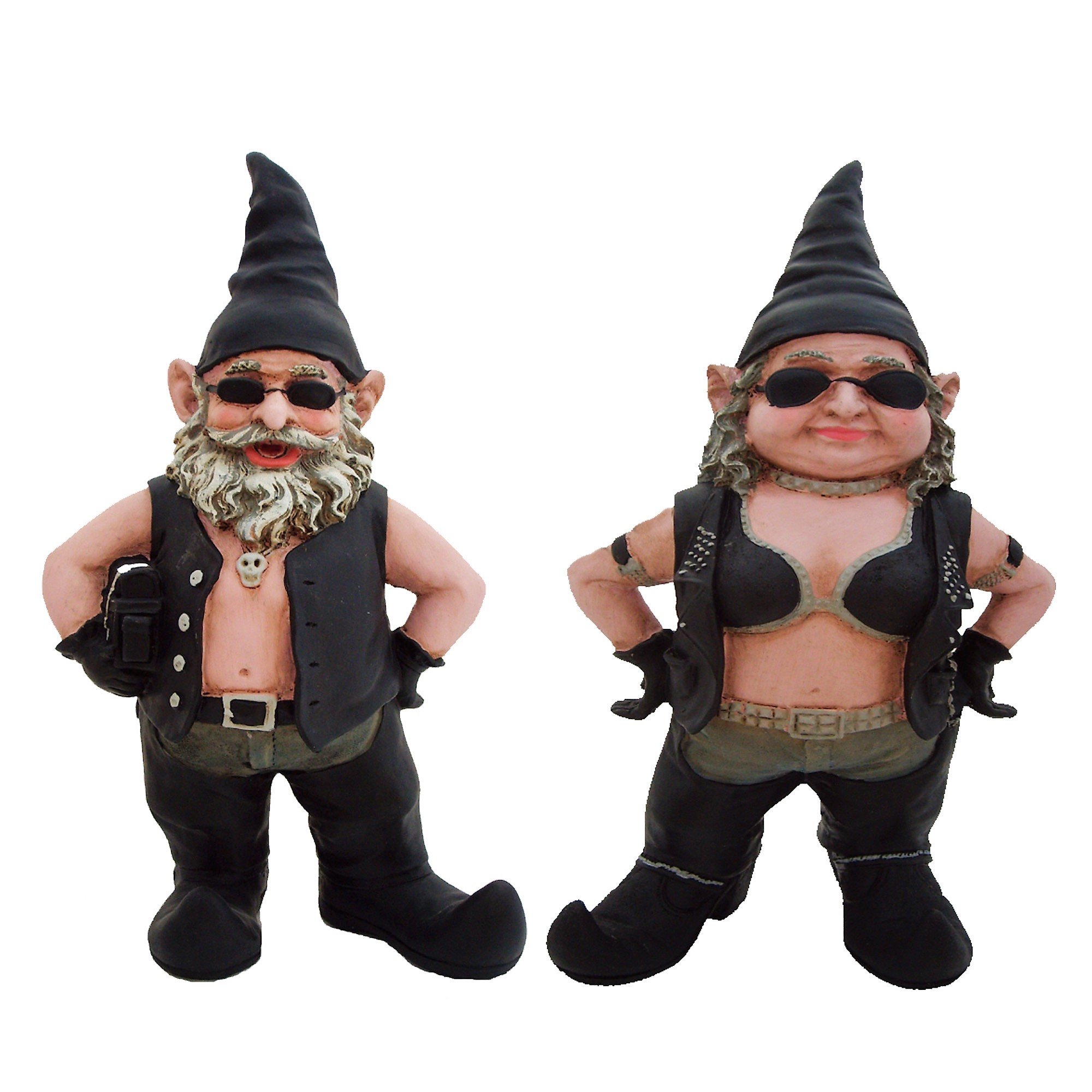 "Nowaday Gnomes ""Biker Dude & Babe"" the 8.5""H Biker Gnomes in Leather... by GSI Homestyles"