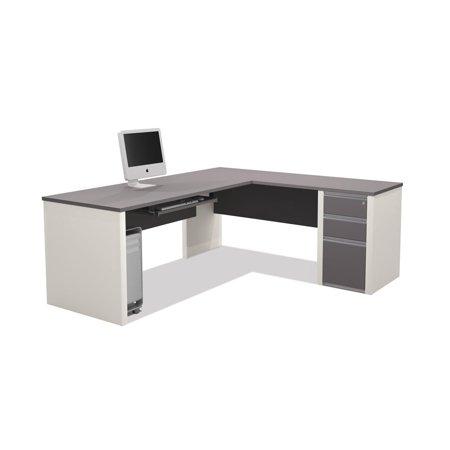 Bestar Connexion 93882-59 L-shaped Workstation Kit Including Assembled Pedestal In Slate & Sandstone