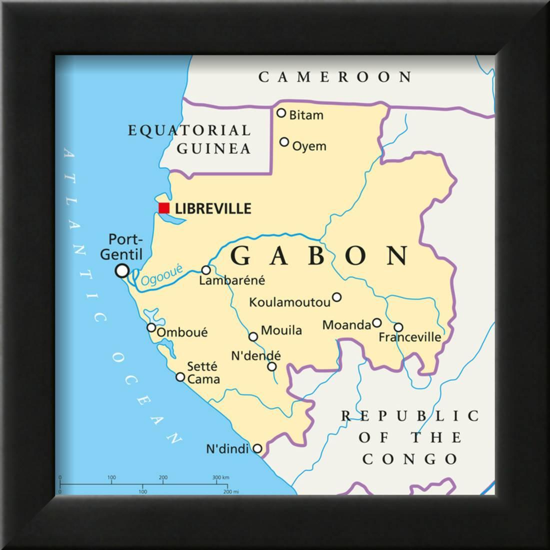 Gabon Political Map Framed Art Print Wall Art By Peter Hermes Furian