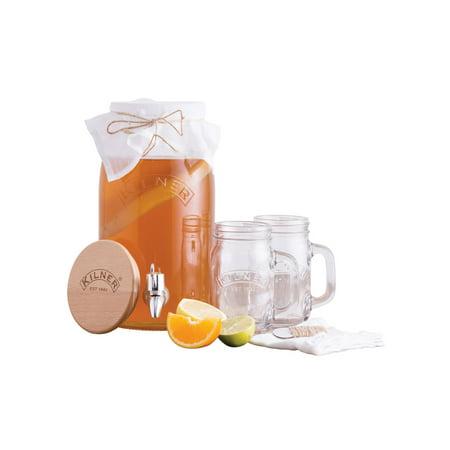 Kilner Kombucha Making Kit, Lidded 3-Liter Glass Drink Dispenser, Two 13-1/2 oz Handled Serving Jars & Full Instructions