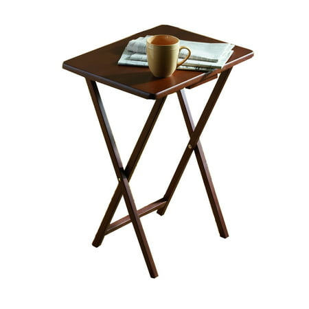 Mainstays (2-Pack) Folding TV Tray Table Set in Walnut