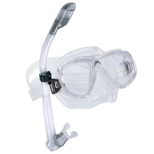 Cressi Sub Perla 2-Window Mask and Dry Snorkel Combo (Black   Black) by Cressi Sub