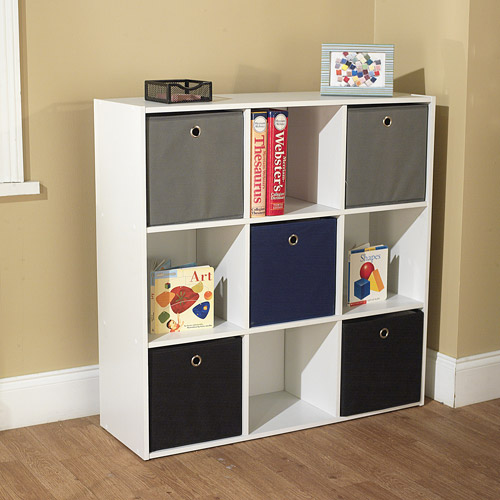 Utility Bookcase Tower with 5 Fabric Bins, Multiple Colors
