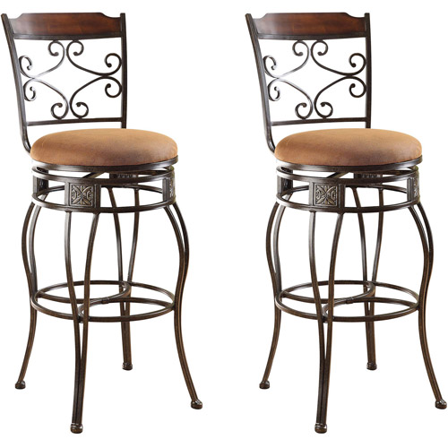 Acme Tavio Swivel Bar Chair, Set of 2, Saddle