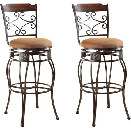 Acme Tavio Swivel Bar Chair Set Of 2 Saddle