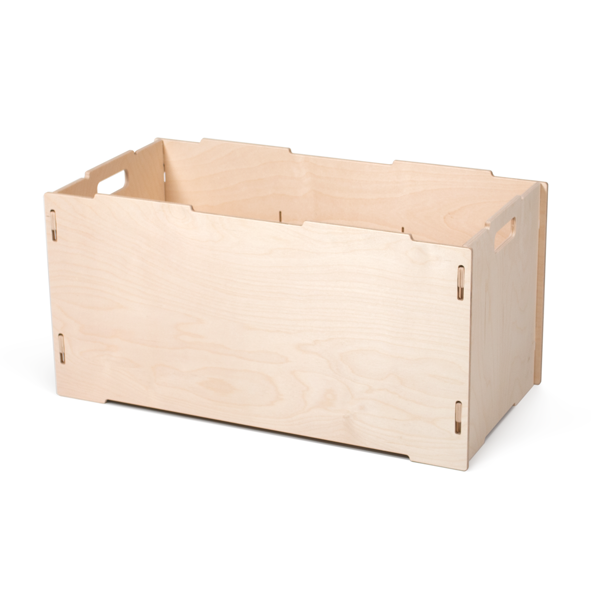 Stackable Large Wooden Storage Box, Unfinished   By Sprout