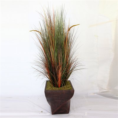 70-in Tall Onion Grass with Cattails in 17-in Fiberstone Planter
