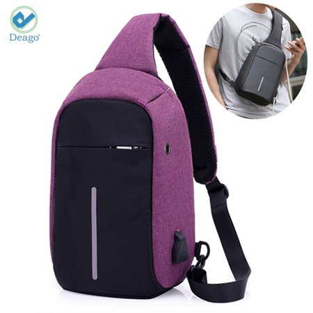 (Deago Anti Theft Sling Bag Shoulder Chest Cross Body Backpack Lightweight For Man or Women Casual Daypack (Purple))