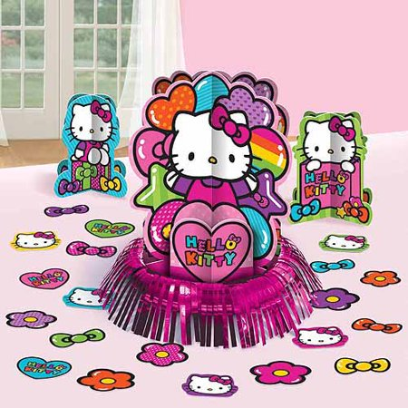Hello Kitty Birthday Party Invitations - Hello Kitty Rainbow Table Decorating Kit