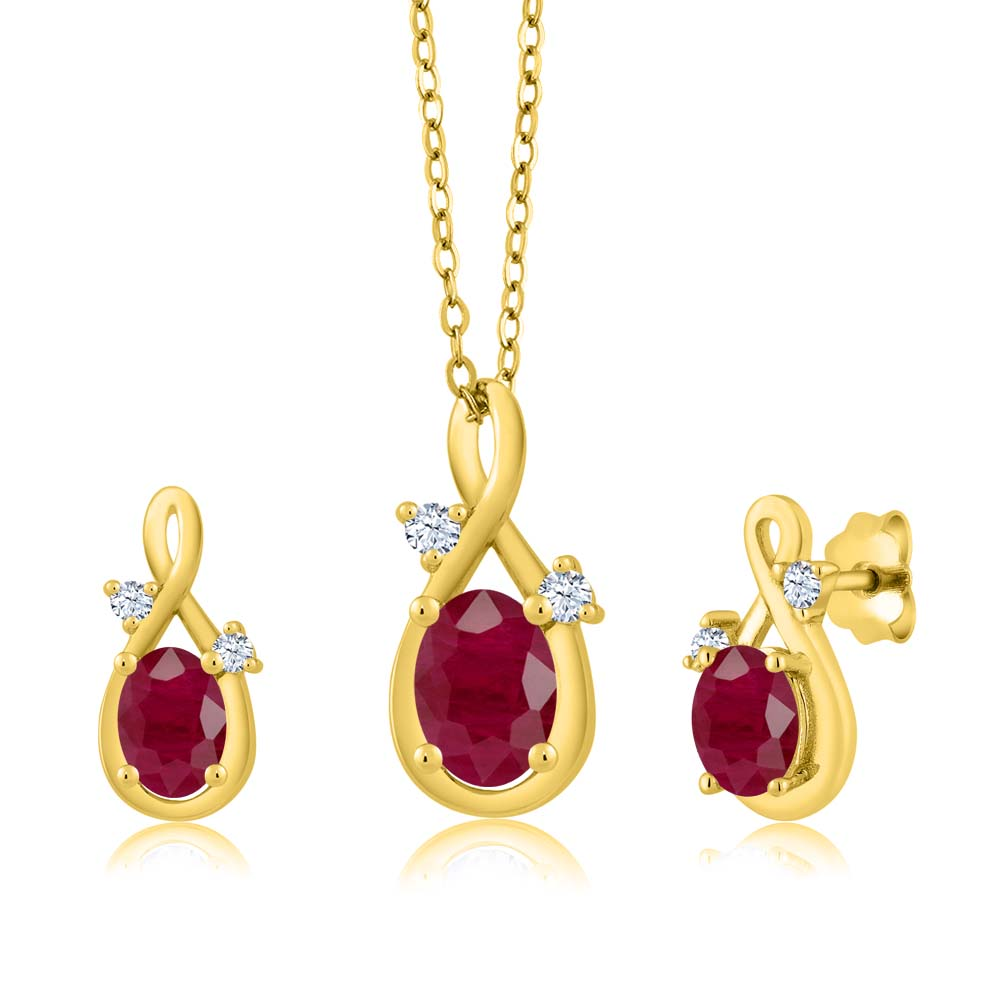 2.31 Ct Oval Red Ruby 14K Yellow Gold Pendant Earrings Set by