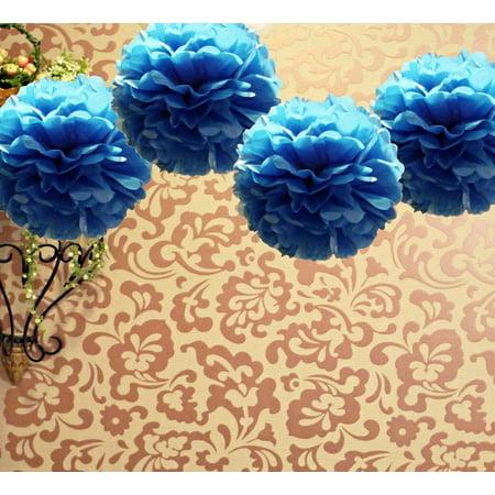 Quasimoon EZ-FLUFF 16'' Dark Navy Blue Tissue Paper Pom Poms Flowers Balls, Decorations (4 Pack) by -