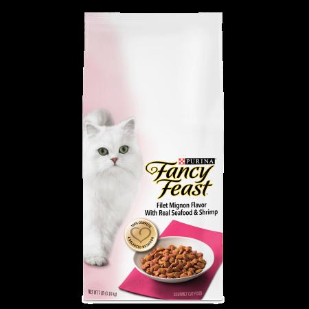 Shrimp Food - Purina Fancy Feast Filet Mignon Flavor With Real Seafood & Shrimp Dry Cat Food, 7 lb