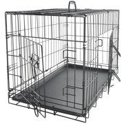 "Paws & Pals 48"" Heavy Duty Foldable Double Door Dog Crate with Divider and Removable ABS Plastic Tray, 48"" x 29"" x 32"""