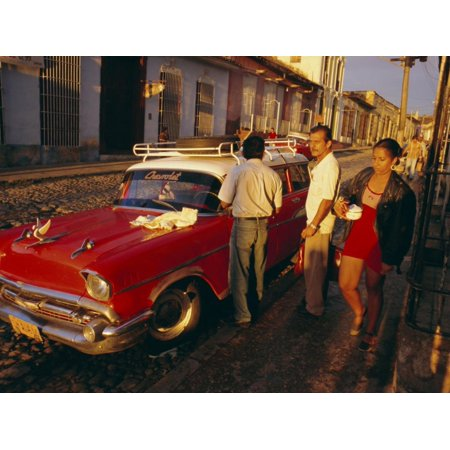Street Scene with Old Car, Trinidad, Cuba, West Indies, Central America Print Wall Art By Bruno Morandi (Old West Scenes)