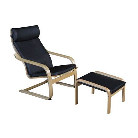 Regency Niche Mia Bentwood Chair and Ottoman, Natural/Black -