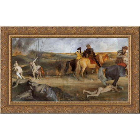 Scene of War in the Middle Ages 24x16 Gold Ornate Wood Framed Canvas Art by Edgar