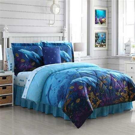 Ellison First Asia 20661801BB-MUL Dolphin Cove Bed in a Bag Comforter Set, Blue - Twin Size, 6 Piece ()
