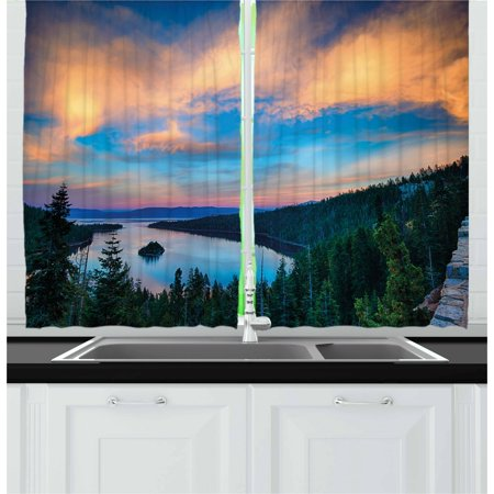 Lake Tahoe Curtains 2 Panels Set, High Angle View of Californian Freshwater Lake Tranquil Scene Sundown, Window Drapes for Living Room Bedroom, 55W X 39L Inches, Forest Green Sky Blue, (Tahoe Two Light Chain)