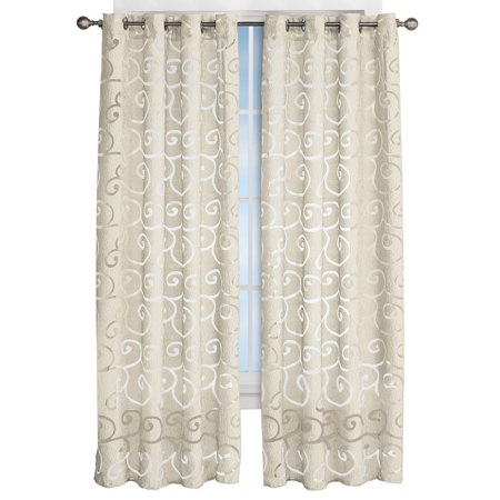 Faux Silk Scroll Sheer Design Curtain Panel Ivory 63