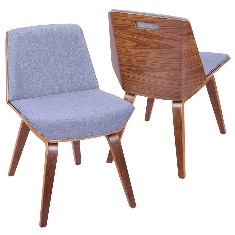 Corazza Mid-Century Modern Accent Dining Chair in Walnut and Blue Fabric by Lumisource by