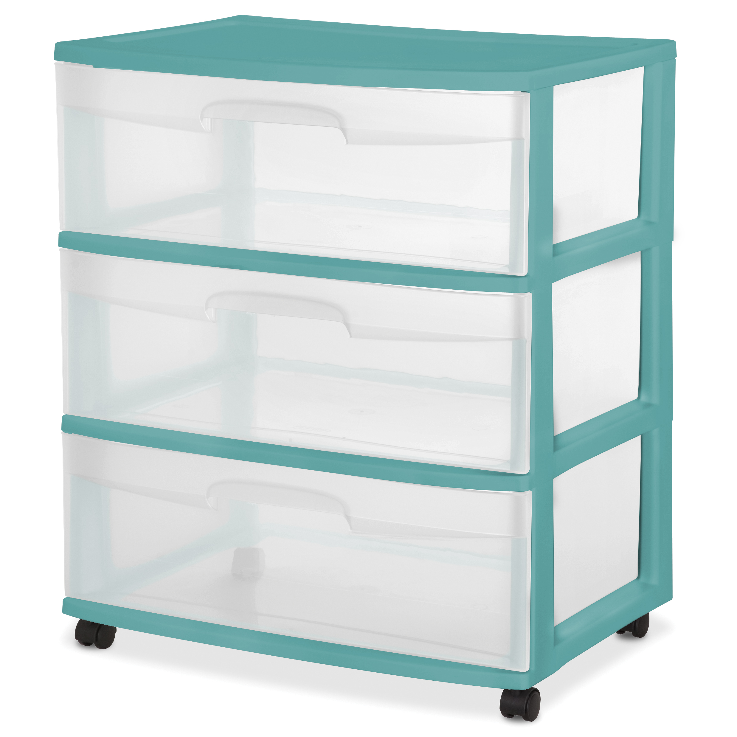 Sterilite 3 Drawer Wide Cart -Peacock Plume, Case of 1