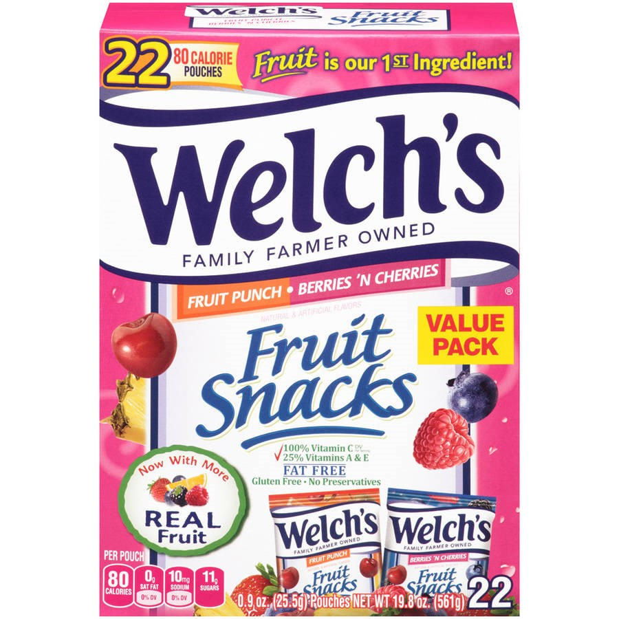 Welch's Fruit Snacks, Fruit Punch & Berries 'N Cherries, 0.9 Oz, 22 Ct