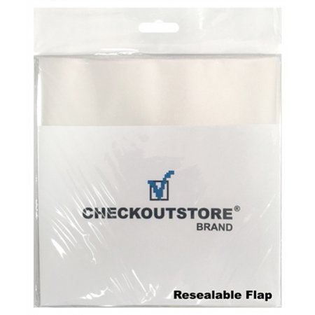 """CheckOutStore 500 COS Clear Plastic OPP Outer Sleeves with Sealable Flap for 7"""" Vinyl 45 RPM Records Budget"""