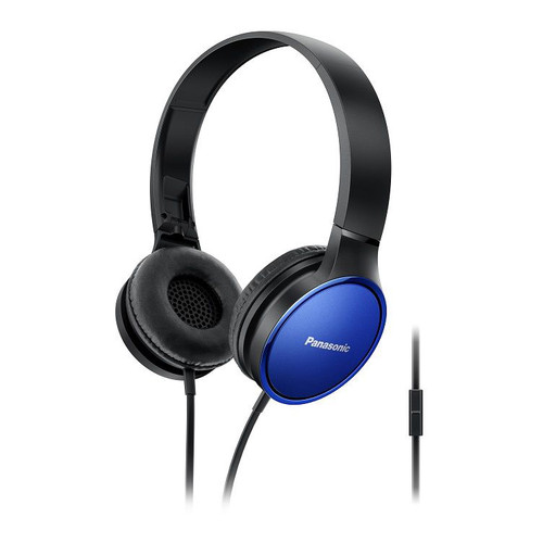 Panasonic Lightweight On-Ear Headphones with Mic and Controller, Blue