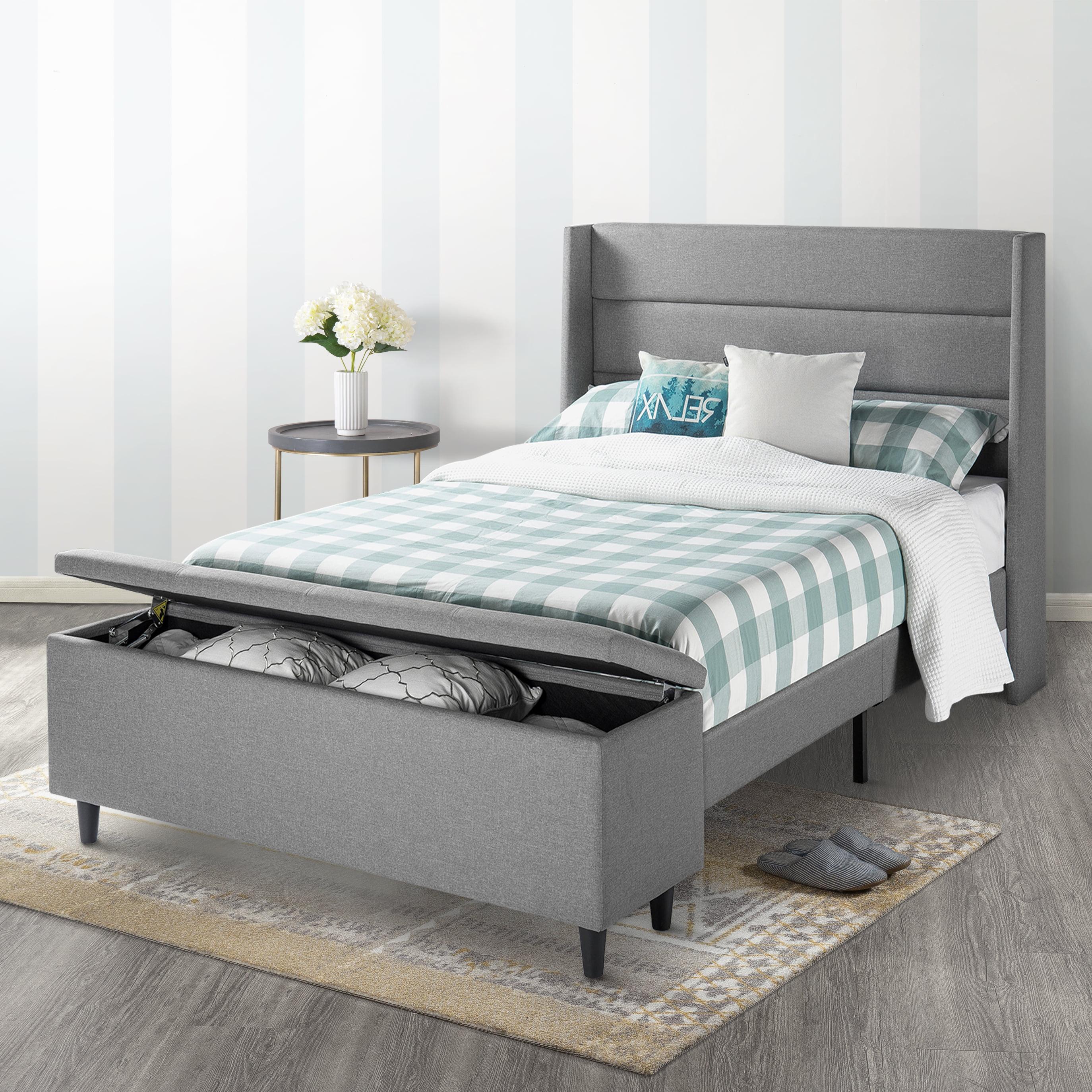 Modern Upholstered Platform Bed With Headboard Walmart Com Walmart Com