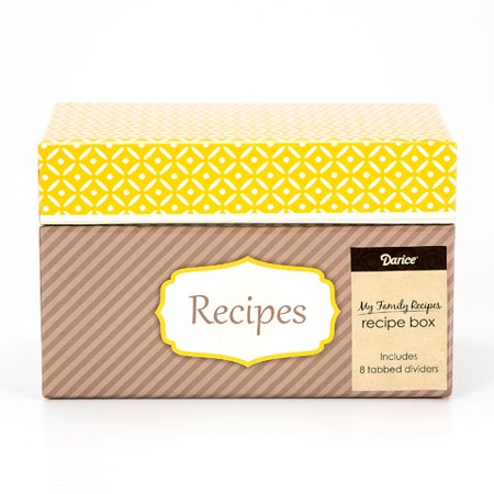 Recipe Card Box Yellow Floral Includes 8 Tabbed Dividers - Wood Recipe Box
