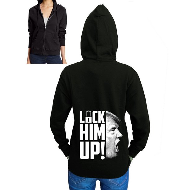 Junior's Trump Lock Him Up Black Fleece Zipper Hoodie X-Large Black