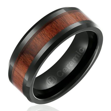 Cavalier Jewelers Mens Wedding Band In Jewelry Grade Black Ceramic 8mm Ring With Dark Wood Inlay