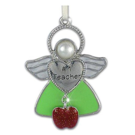 Gift Angel Ornament (Teacher Angel Hanging Ornament with Apple Charm Gift for Teacher Appreciation Thank You - Jeweled and Enameled Metal - 2-1/2)
