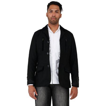 Worsted Wool Blazer - Blanco Label Men's Black Wool Melton Blazer, Back Zipper Teeth Embroidery