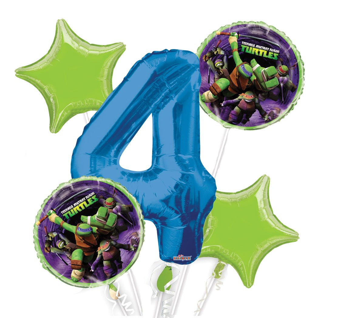 Ninja Turtles Balloon Bouquet 4th Birthday 5 pcs - Party Supplies, 1 Giant Number 4 Balloon, 34in By Viva Party