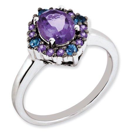 Sterling Silver Amethyst & Tanzanite Ring. Gem Wt- 1.25ct