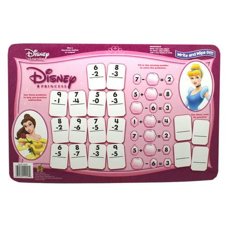 Belle and Cinderella Princess Dry Erase Math Problem Sheet