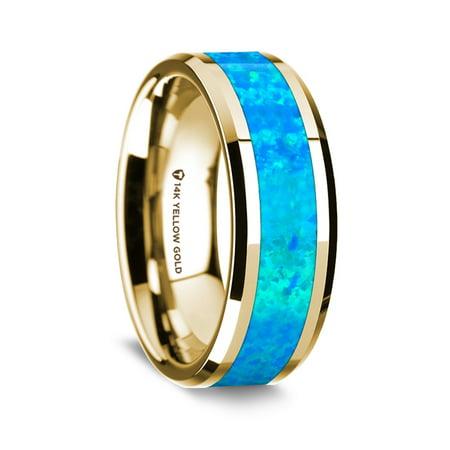 14K Yellow Gold Polished Beveled Edges Wedding Ring With Blue Opal Inlay
