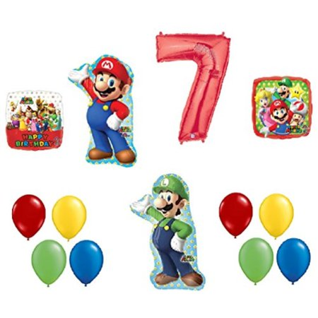 7 7th Birthday Super Mario Brothers Mega 13 Piece Foil Mylar and Latex Balloons Party Decoration Set (Super Mario Brothers Decorations)